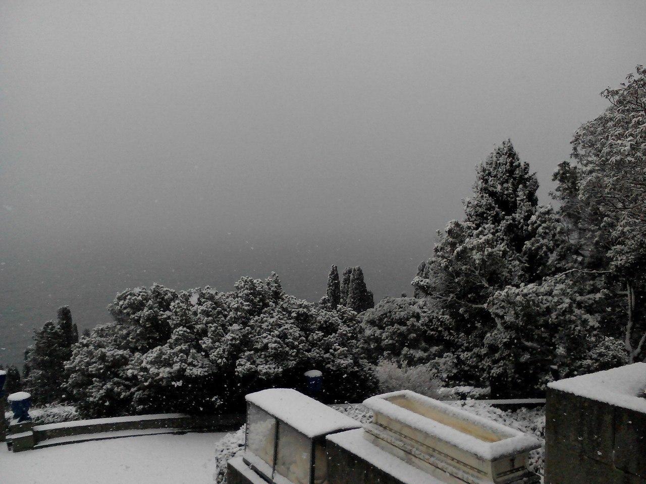 Воронцовский дворец в снегу: вид с Южной террасы
