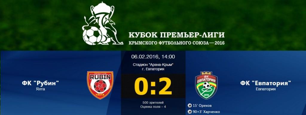 В матче кубка Премьер-лиги КФС группы А «Евпатория» обыграла ялтинский «Рубин»