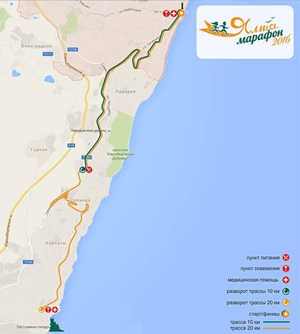 Маршрут марафона «Ялта-2016»