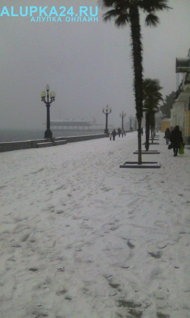 Ялтинская набережная в снегу 2017 4