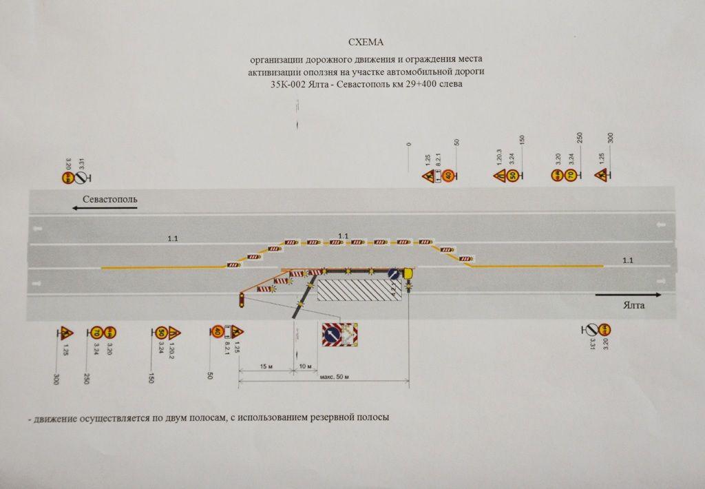 В Ялте введён режим ЧС из-за оползня на севастопольской трассе 3