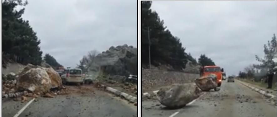 На трассе Ялта-Севастополь произошёл обвал валунов