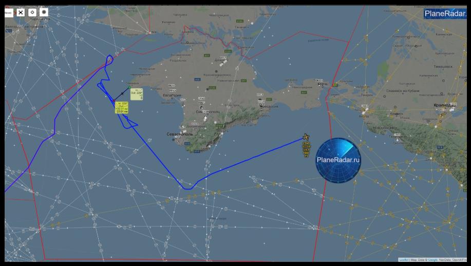 У берегов Крыма зафиксировали американский самолёт-разведчик