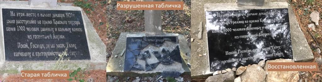 В Алупке восстановили разрушенную вандалами табличку на памятнике расстрелянным